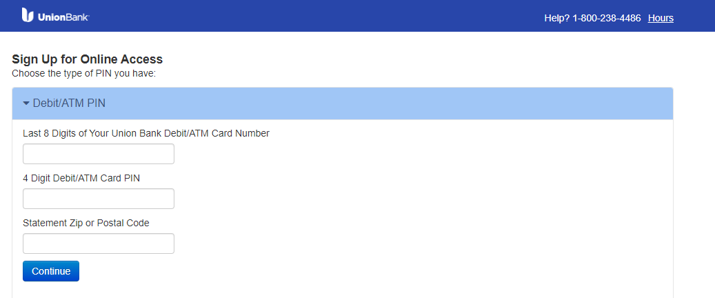 Online Banking sign up screen