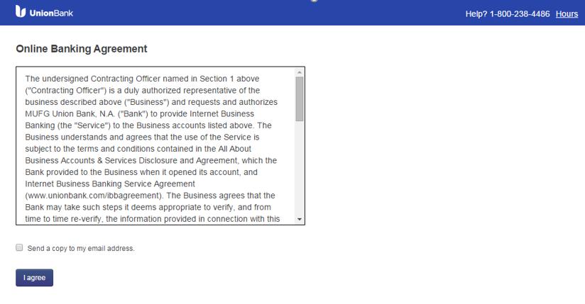 Screenshot of Online Banking agreement screen