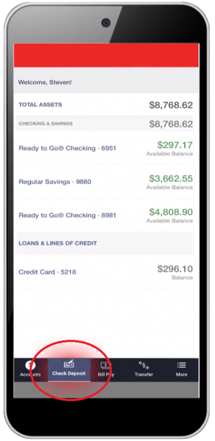 Online banking check deposit selection on a mobile phone